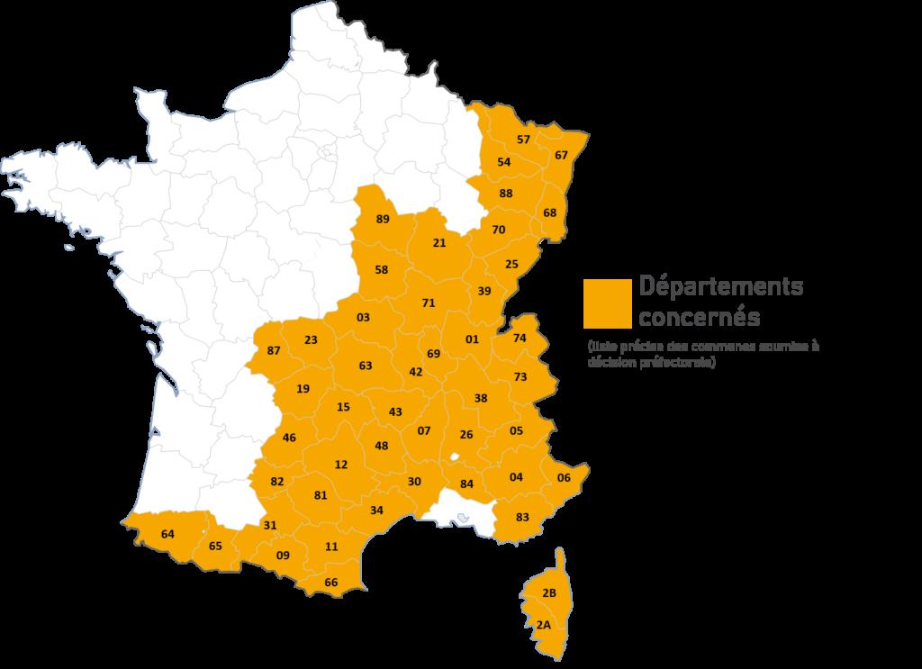 carte des départements français concernés pour la nouvelle loi montagne